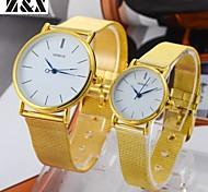 relógio de quartzo com ligação diamante moda pulso cinta de aço analógico do casal (cores sortidas)