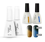 azur 4 pièces / lot ongles gel caméléon température bricolage ongles vernis pour tremper-off uv gel polish (# 43 + # 47 + base + haut)