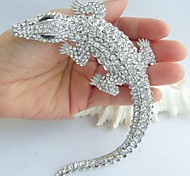 Women Accessories Silver-tone Clear Rhinestone Crystal Alligator Crocodile Brooch Art Deco Crystal Brooch Women Jewelry