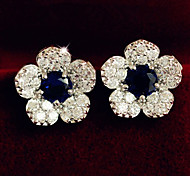 Blue Crystal Rhinestone Fashion Delicate Flower Earrings