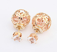 European Style Fashion Hollow Ball Flower Shiny Double Side Earrings