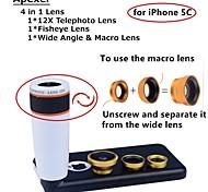 apexel 4 in 1 Objektiv-Kit 12x weißen Teleobjektiv + Fisheye-Objektiv + Weitwinkel + macro Objektiv mit für iphone 5c