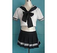 Saucy Girl Dark Blue and White Polyester School Uniform