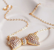 New Arrival Fashional Delicate High Quality Rhinestoen Bow Necklace