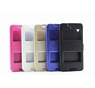 Для Кейс для HTC со стендом / с окошком / Флип Кейс для Чехол Кейс для Один цвет Твердый Искусственная кожа HTC
