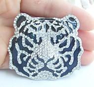Women Accessories Silver-tone Clear Rhinestone Crystal Tiger Brooch Art Deco Crystal Brooch Women Jewelry
