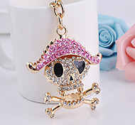 Rhinestone Pirate Skull Key Chain Diamond Ring Keyring
