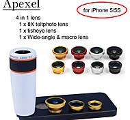 Apexel 4 in 1 Lens Kit 8X White Telescope Lens+Fisheye Lens+Wide-angle+Macro Camera Lens with Case for iPhone 5 5S