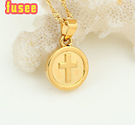 Fashion cross design Brass Circle Pendant with  Necklace
