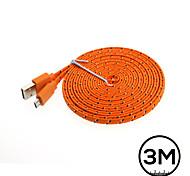 3m tagliatella piatta cavo del caricatore di dati in tessuto intrecciato USB2.0