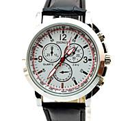 Simple Nombre de numérotation romaine des hommes cadran rond PU bande de montre à quartz de mode analogique (couleurs assorties)