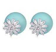 New Design For 2015 Big Flower Shaped Zircon Crystal Pearl Earring Double Sided Pearl Earring Cheap Earring For Women