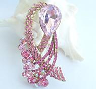 Women Accessories Gold-tone Pink Rhinestone Crystal Flower Brooch Art Deco Crystal Brooch