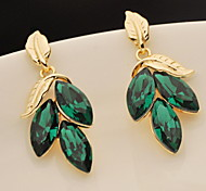 Flash Green Leaves Gem Earrings