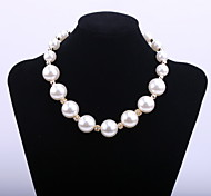 Fashion Women's Big Pearl Chain Short Necklace with Crystal Ball