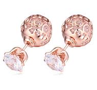 2015 Crown Crystal Jewelry AAA+ Zircon Earrings Wedding Party Earring Double Crystal Earrings Hollow Flower For Women