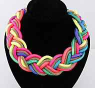 Cusa Metal Fluorescent Color Hand Woven Necklace
