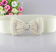 Women Bowknot Pearl Fashion Belt Party/Casual Alloy Faux Leather Wide Belt