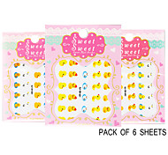 Pack of 6 Sheets 3D Nail Decals Nail sticker Yellow Duck QJ-3D-600-602