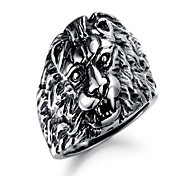 Casting Style Lion-Head Titanium-Steel Rings(Black)(1Pc)