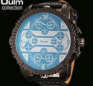 quattro fusi orari uomini oulm® di orologio militare giapponese al quarzo cinturino in pelle quadrante grande formato