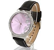 relógio de senhoras de moda em couro de cristal moda feminina (cores sortidas)