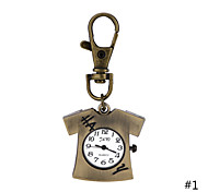 Pocket Watch Alloy Cute T-shirt Pendant Necklace Quartz With Iron Chains Antique Bronze Key Ring Watch For Men Women