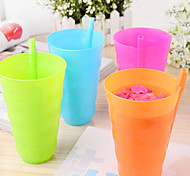 красочные пластиковые стаканчики проведения соломы (случайный цвет)