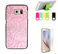 Pink Sand Design Hard Case with Screen Protector and Stand Holder for Samsung Galaxy S6