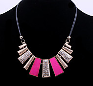 Fashion Women's Choker Necklace with Crystal and Pink Painting Accessories