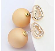 Fashion Jewelry Gold Heart Shaped Zircon Crystal Pearl Earring Double Sided Pearl Earring Cheap Pearl Earring For Women