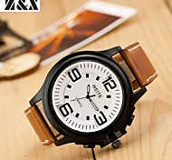 Men's Fashion Big Dial Quartz Analog Leather Band Leisure Wrist Watch(Assorted Colors) Cool Watch Unique Watch