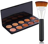 Pro Party 10 Colors Contour Face Cream Makeup Concealer Palette + Powder Brush