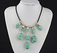 Toonykelly®Vintage Look Natural Irregular Turquoise Stone Necklace(1 Pc)
