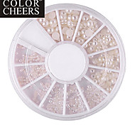 Mixed-Taille Semicircle White Pearl Nail Art Décorations