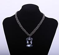 Fashion Women's Sweater Chain Big Black Diamond Glass Pendant Gun Metal Plating Chians Necklace