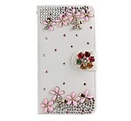 diamante hecho a mano flores de colores de la PU cuero caso de cuerpo completo con pie de apoyo para el Samsung Galaxy Note 2/3/4/5