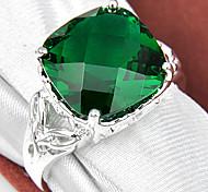 regalo de la familia de bomberos fuego cuadrado verde gema de cuarzo de plata 925 anillos de flores declaración de fiesta de la boda