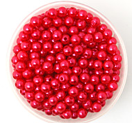 Beadia 100g(Approx 1000Pcs)  ABS Pearl Beads 6mm Round Red Color Plastic Loose Beads For DIY Jewelry Making