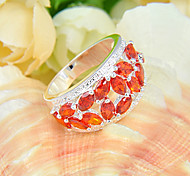 Fashion Jewelry Full Fire Red Quartz Gem 925 Silver Statement Rings For Wedding Party Daily Casual 1pc