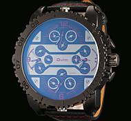 OULM® Men's Four Time Zones Military Watch Japanese Quartz Big Size Dial Leather Strap Cool Watch Unique Watch Fashion Watch