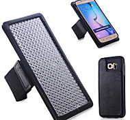 Specially Designed Combination TPU+Genuine Leather+Nylon Wrist Strap Back Cover for Samsung Galaxy S6
