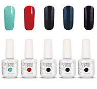 Gelpolish Nail Art Soak Off UV Nail Gel Polish Color Gel Manicure Kit 5 Colors Set S108