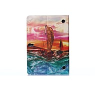 Oil Painting Sailboat PU Leather Full Body ABS Case with Holder for Samsung Galaxy T800 /Tab S 10.5