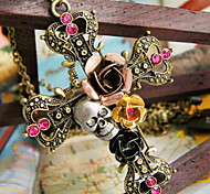 Sweet Roses Skull Restore Ancient Ways Cross Necklace Sweater Chain