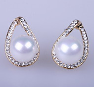 Hight quality stock Free shipping 2014 Crystal rose gold earring Alloy rhinestone earring with Imitation sea shell pearl