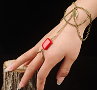 Red Gem Leaves Bracelet With Ring