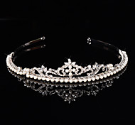 Bridal Crown Silver Tiara Queen Flower Leaf Butterfly Crystal/Diamond  Pearls Hairclips Headpiece Wedding/Party