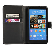Solid Color PU Leather Full Body Protective Case with Stand for Sony Xperia E4