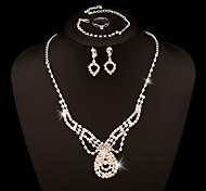 Wedding Jewelry Set include Necklace & Earrings & Bracelet & Rings